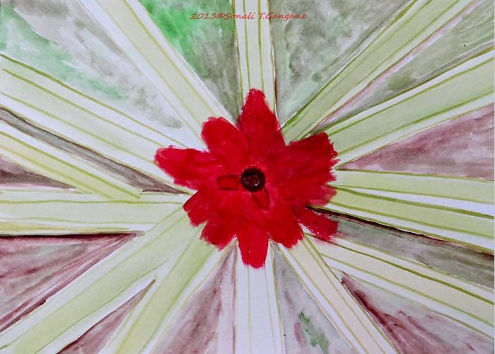 Rosy Red Greeting Card featuring the painting Red Brilliance by Sonali Gangane