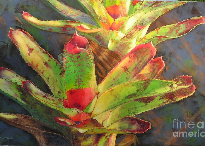 Nature Greeting Card featuring the painting Red Bromeliad by Sandra Williams