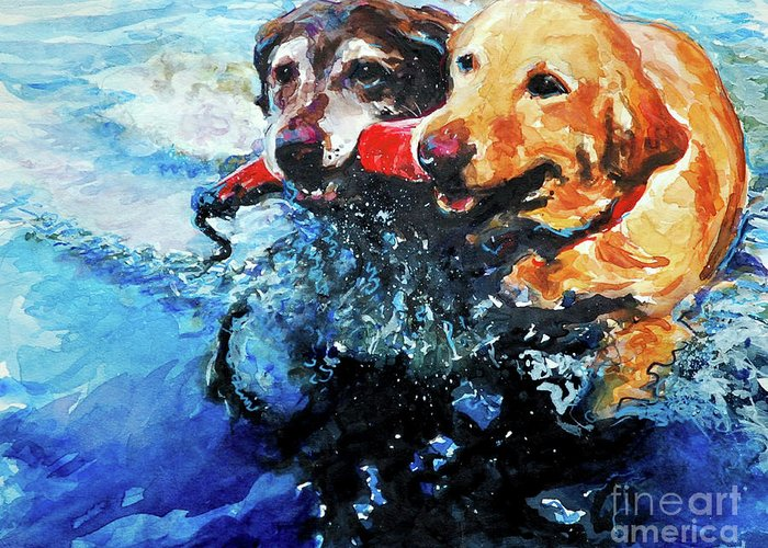 Labrador Retrievers Greeting Card featuring the painting Red Bumper by Molly Poole