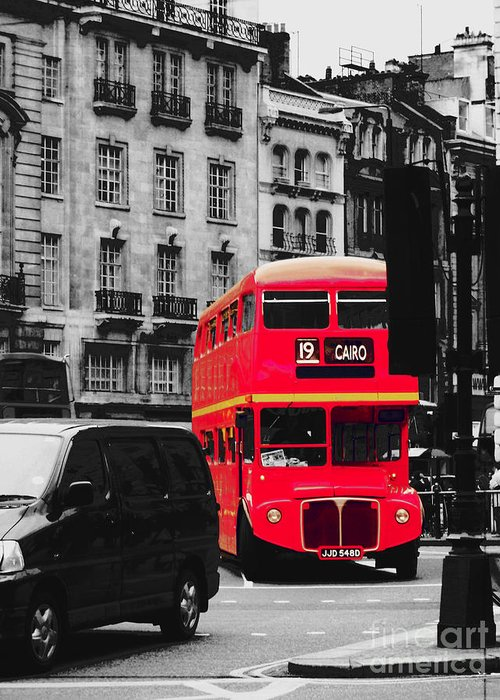 London Greeting Card featuring the photograph Red Bus by Cheryl Gerhard