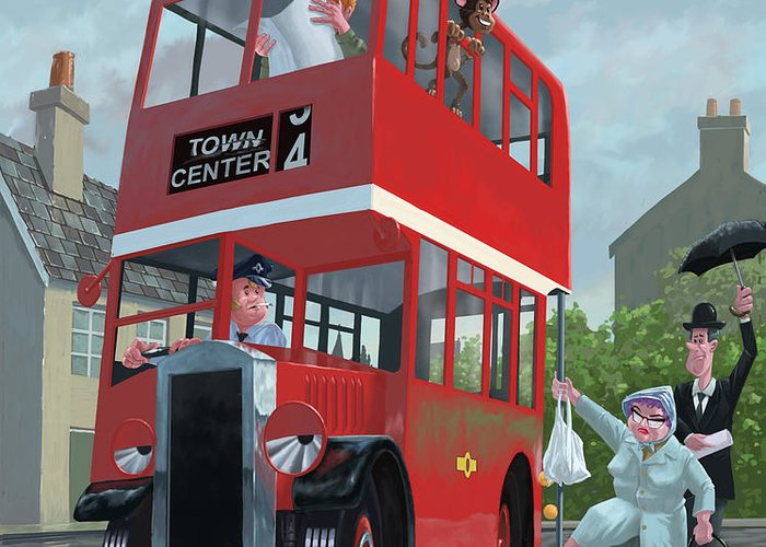Red Bus Greeting Card featuring the painting Red Bus Stop Queue by Martin Davey