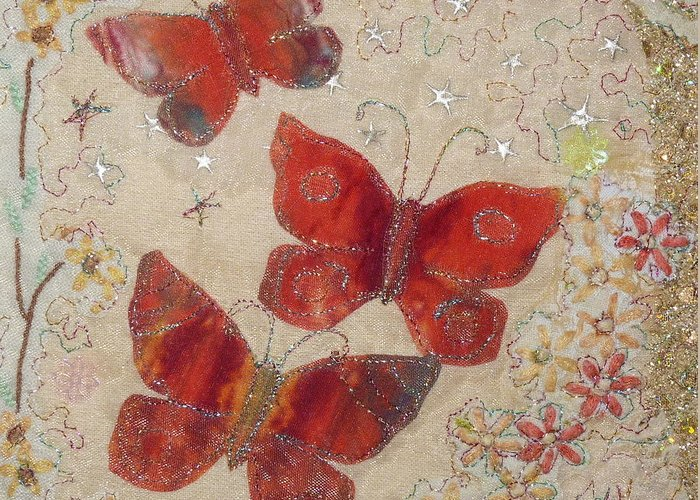 Red Greeting Card featuring the painting Red Butterflies by Hazel Millington