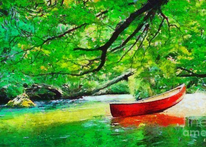 Water Greeting Card featuring the painting Red Canoe by Elizabeth Coats