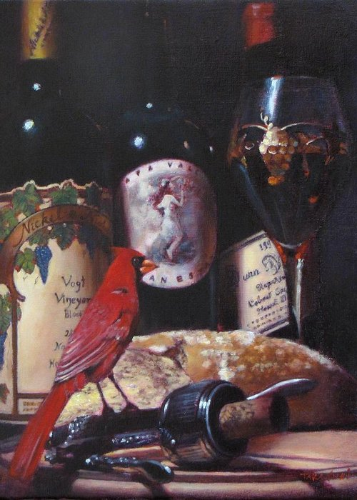 Wine Painting Greeting Card featuring the painting Red Cardinal Red Wine Sin by Takayuki Harada