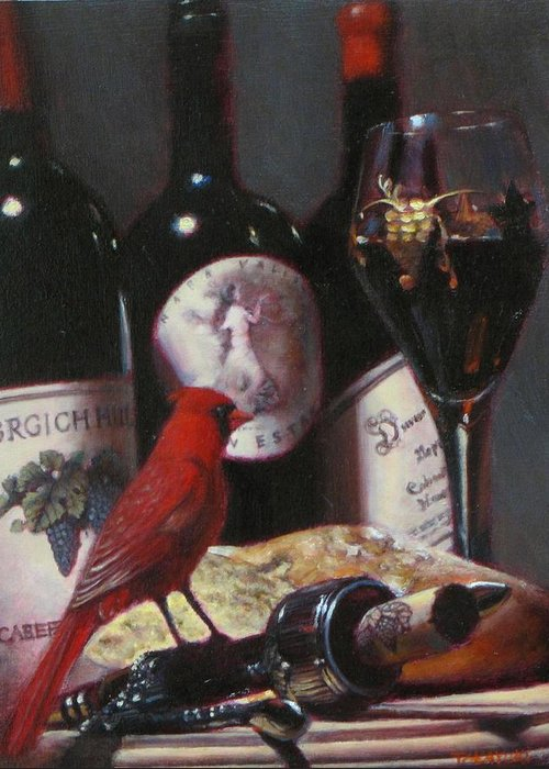 Wine Painting Greeting Card featuring the painting Red Cardinal With Red Wine 2 by Takayuki Harada