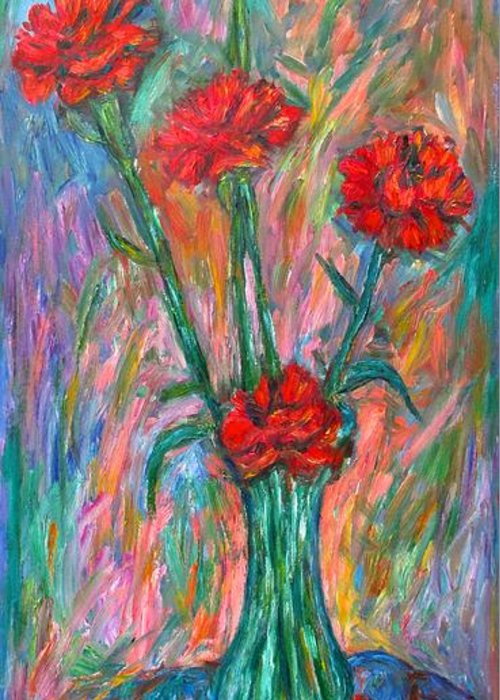 Carnations Greeting Card featuring the painting Red Carnation Melody by Kendall Kessler