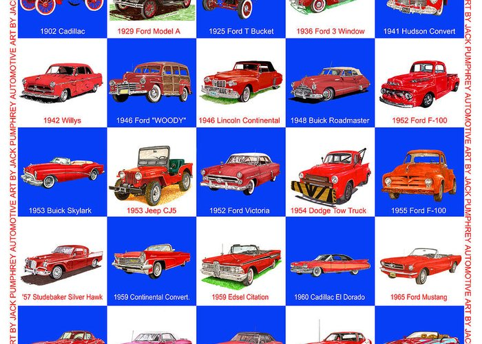 American Car Art By Jack Pumphrey Greeting Card featuring the painting Red Cars Of America by Jack Pumphrey