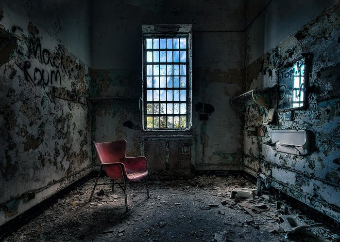 Abandoned Places Greeting Card featuring the photograph Red Chair - Art Deco Decay - Gary Heller by Gary Heller
