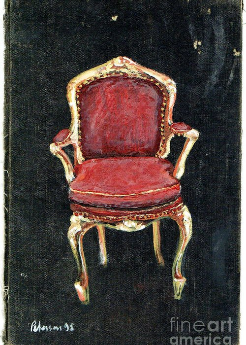 Red Louis Xiv Xv Chaise Velvet Seat Fetish Cathy Peterson Ventura California Listed Artist Watercolor Oil Paint Painting Modern Contemporary Impressionist Impressionism Expressionist Abstract Realism Minimalism Rural Scenes Fantasy Original Works Pen Pencil Graphic Colored Pencils India Ink Gouache Mixed Media House Coffee Fine Design Oeuvre Printmaking Westmont College Santa Barbara Cloth Panels Paper Drawings Sketches Experimental Ideas Dekalb 1964 Painter Interpretive Art Greeting Card featuring the painting Red Chair by Cathy Peterson