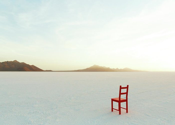 Tranquility Greeting Card featuring the photograph Red Chair On Salt Flats, Facing The by Andy Ryan