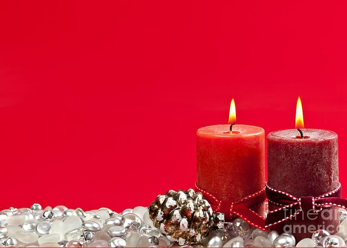 Christmas Greeting Card featuring the photograph Red Christmas Candles by Elena Elisseeva
