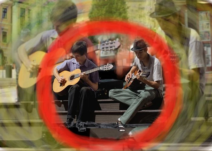 Guitars Greeting Card featuring the digital art Red Circle by Mary Armstrong