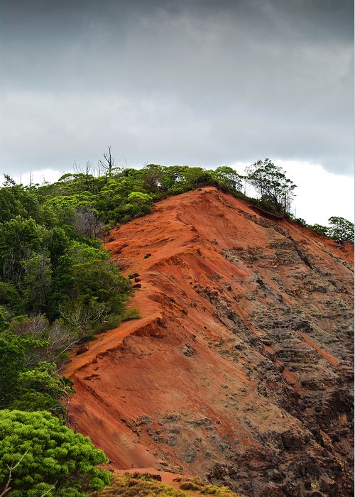 Christi Kraft Greeting Card featuring the photograph Red Cliff At Waimea by Christi Kraft