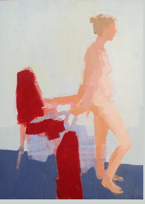 Chair Greeting Card featuring the painting Red Cloth by Cynthia Harvey