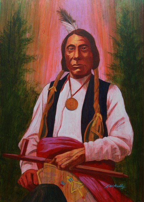 Red Cloud Greeting Card featuring the painting Red Cloud Oglala Lakota Chief by J W Kelly