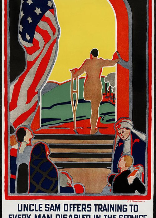1919 Greeting Card featuring the photograph Red Cross Poster, 1919 by Granger