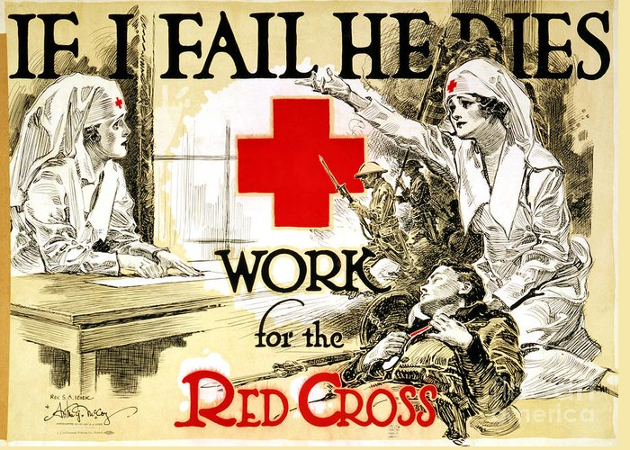 1918 Greeting Card featuring the photograph Red Cross Poster, C1918 by Granger