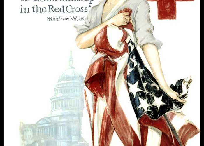 red Cross Greeting Card featuring the digital art Red Cross World War 1 Poster 1918 by Daniel Hagerman