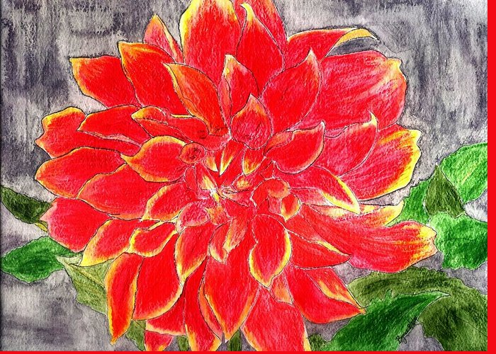 Flower Greeting Card featuring the painting Red Dalia by Margie Byrne
