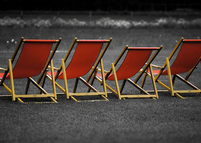 Lounge Greeting Card featuring the photograph Red Deck Chairs by Mikhail Pankov