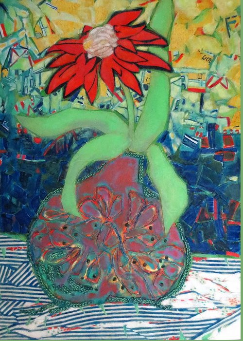 Still Life Mixed Media Greeting Card featuring the mixed media Red Diasy by Diane Fine