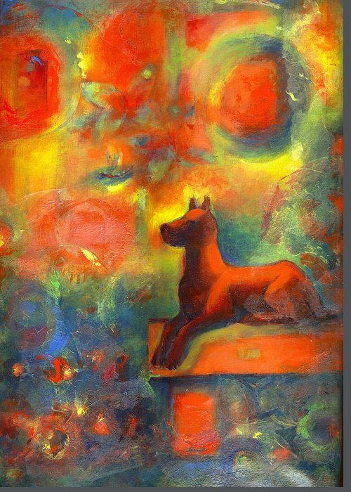 Dog Greeting Card featuring the painting Red Dog In The Garden 2 by Nato Gomes