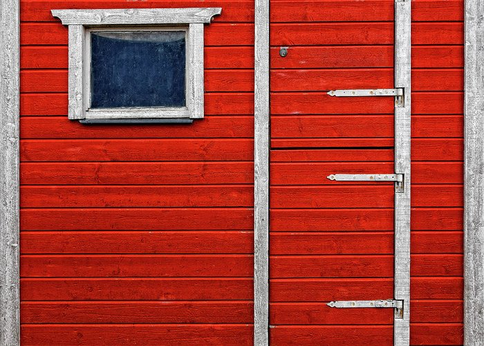 Built Structure Greeting Card featuring the photograph Red Door And Window With White Frames - by Makasu