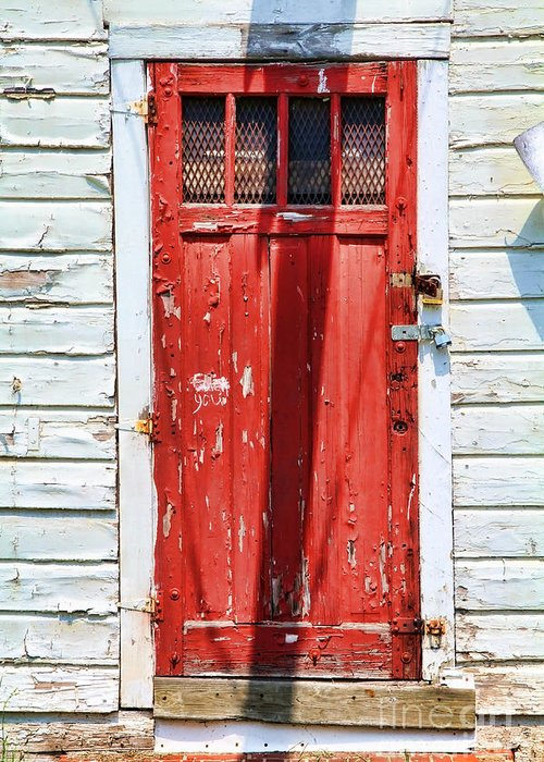 Renee's Abandoned Store Greeting Card featuring the photograph Red Door By Diana Sainz by Diana Sainz