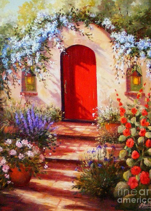 Red Door Greeting Card featuring the painting Red Door by Gail Salitui