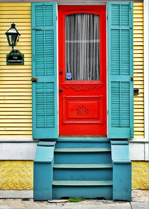 Front Greeting Card featuring the photograph Red Door In New Orleans by Christine Till