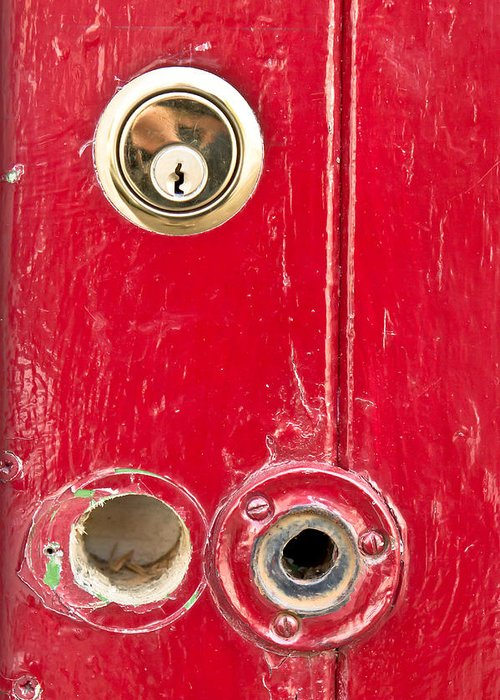 Anti-theft Greeting Card featuring the photograph Red Door Lock by Tom Gowanlock