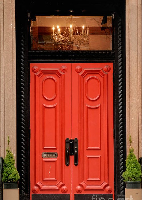 Red Door On New York City Brownstone Greeting Card For Sale By Amy
