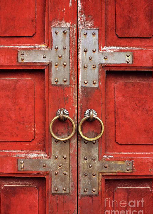 Vietnam Greeting Card featuring the photograph Red Doors 01 by Rick Piper Photography