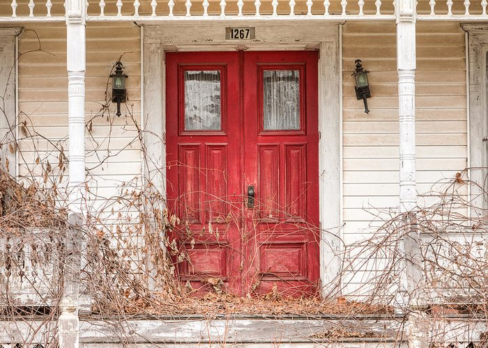 Doors Greeting Card featuring the photograph Red Doors - Charming Old Doors On The Abandoned House by Gary Heller