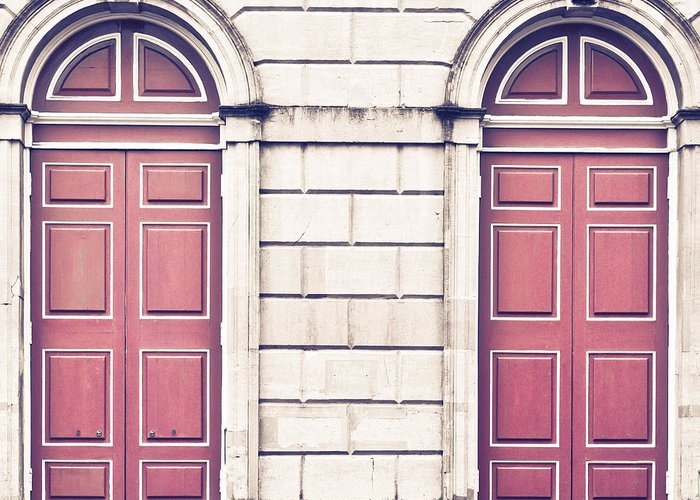 Arch Greeting Card featuring the photograph Red Doors by Tom Gowanlock