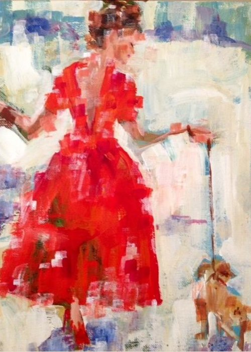 Red Greeting Card featuring the painting Red Dress by Molly Wright