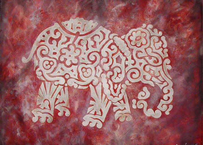 Alabama Greeting Card featuring the digital art Red Elephant by Jennifer Kelly