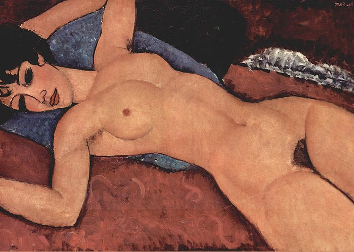 Red Female Nude Painting Greeting Card featuring the painting Red Female Nude Painting by Amedeo Modigliani