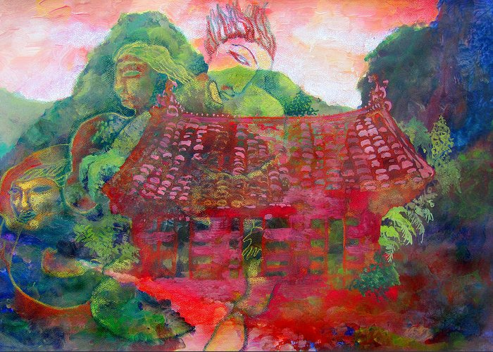 Red Green Temple China Taiwan Buddhism Portraits Landscape Trees Hills Mountains Dream-like Surrealism Foliage Fantasy Daydream Scenery Nature Tiled Roof Contemplation Reflection Inner Self Greeting Card featuring the mixed media Red Festival by James Huntley
