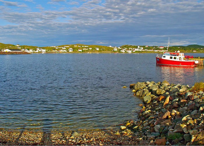 Red Fishing Boat In Twillingate Harbour Greeting Card featuring the photograph Red Fishing Boat In Twillingate Harbour-nl by Ruth Hager