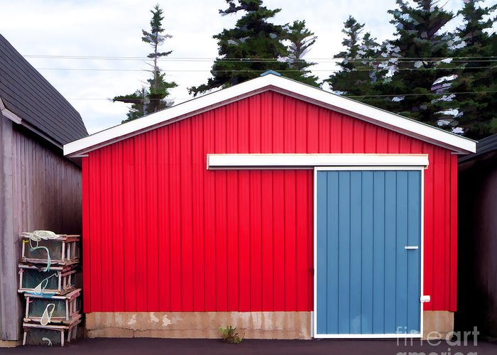Red Greeting Card featuring the photograph Red Fishing Shack Pei by Edward Fielding