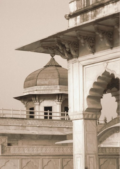 Arches Greeting Card featuring the photograph Red Fort by Mary Pille