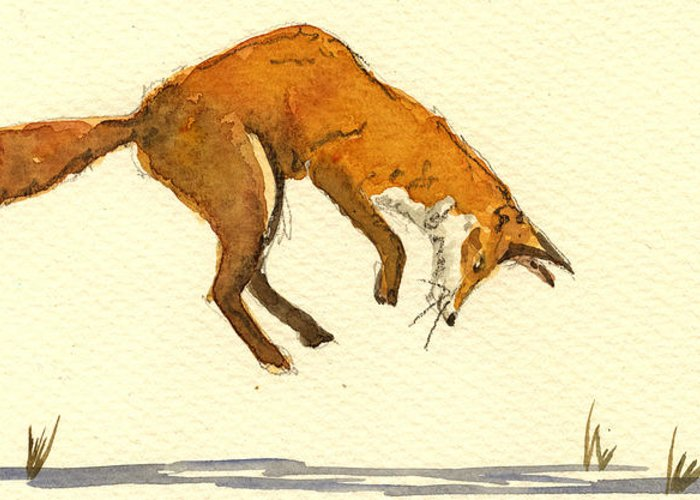 Red Greeting Card featuring the painting Red Fox Hunting by Juan Bosco