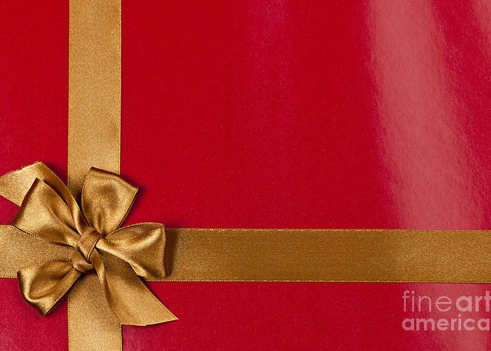 Gift Greeting Card featuring the photograph Red Gift Background With Gold Ribbon by Elena Elisseeva