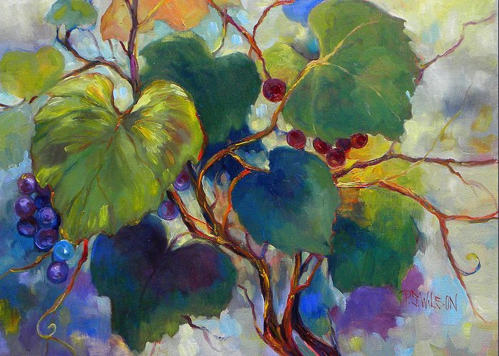 Grapes Greeting Card featuring the painting Red Grape Vines by Peggy Wilson