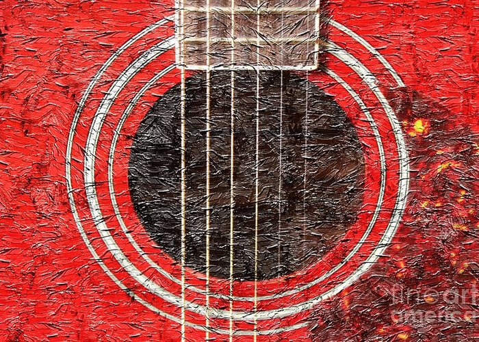 Red Guitar Digital Painting Greeting Card featuring the photograph Red Guitar - Digital Painting - Music by Barbara Griffin