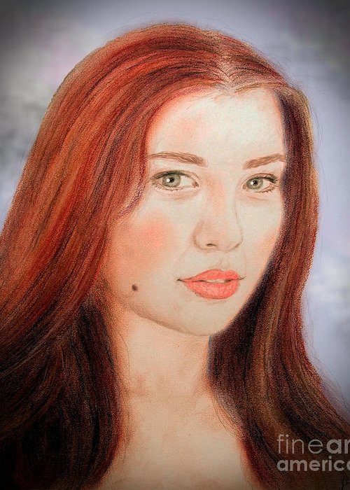 Red Hair And Blue Eyed Beauty Greeting Card featuring the drawing Red Hair And Blue Eyed Beauty With A Beauty Mark II by Jim Fitzpatrick