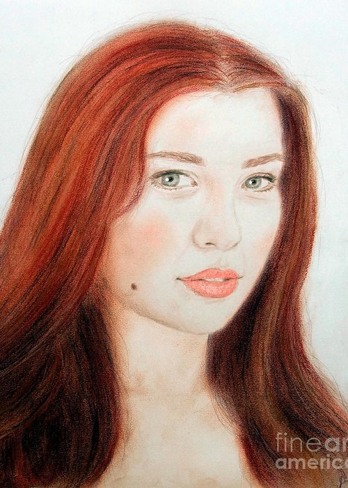 Red Hair And Blue Eyed Beauty Greeting Card featuring the drawing Red Hair And Blue Eyed Beauty With A Beauty Mark by Jim Fitzpatrick