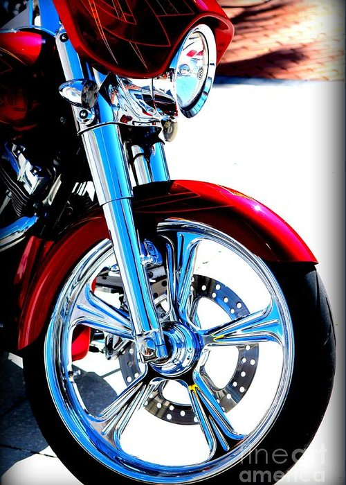 Harley Greeting Card featuring the photograph Red Harley Davidson by April Perez