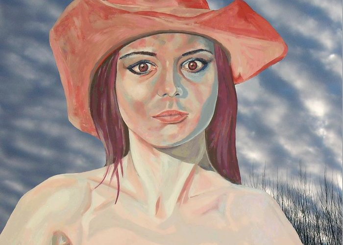 Red Hat Girl Greeting Card featuring the painting Red Hat Girl by Roger Medcalf